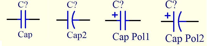 Protel中Cap,Cap2,Cap<wbr><wbr>Pol的区别(转)
