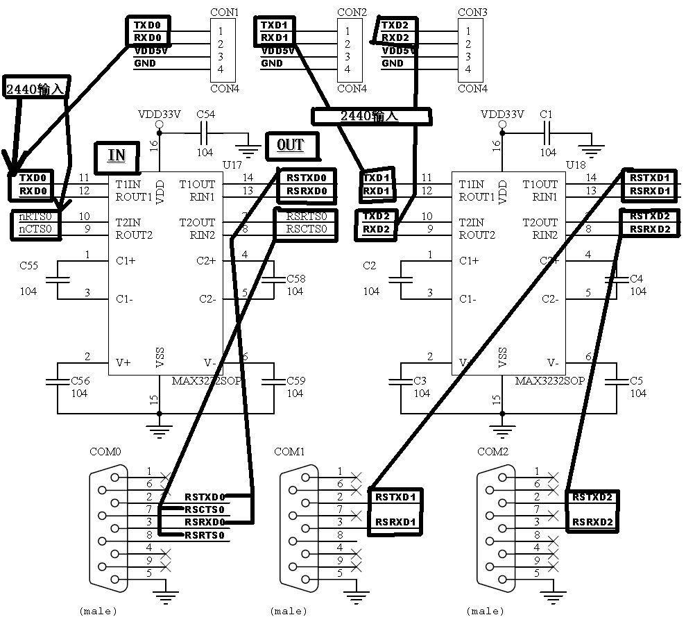 max3232串口接线图