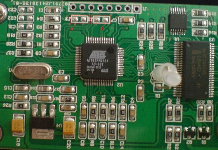 打开jlink 外壳,见到jlink内部电路如下图所示.