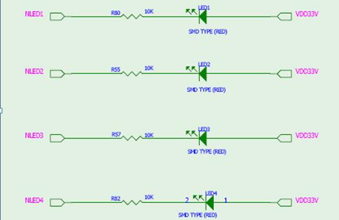 根据led的接线图可以看出只有在nled0/1/2/3为低电平时,才会导通点亮.