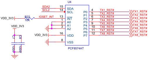 pcf8574t 是cmos电路,它通过两条双向总线可使大多数