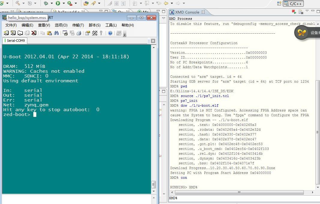 在断电,把zedboard 的启动方式的跳线的J10 接3.3V ,即SPI 启动。 SPI 启动信息如下: 从QSPI闪光的Linux的拷贝到RAM中... 复制RAMDISK ... ##启动应用程序为0x00008000 ... 解压缩的Linux的...完成,启动内核。 [0.000000]启动的Linux上的物理CPU 0 [0.000000] Linux下的版本3.