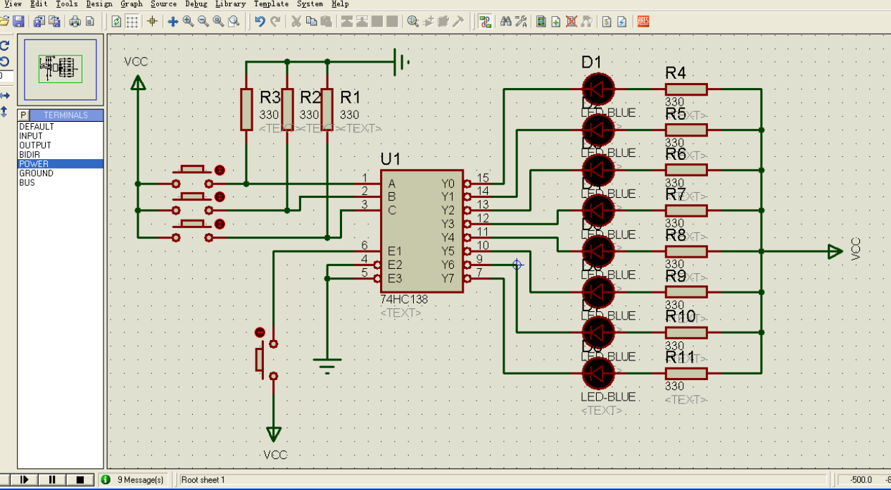 : 74hc138手册:A1,A2,A0数据总线,要用来做输入,Y0~Y7是数据总线 ,用来做输出。引脚前面加一个小圈的,代表低电平有 效! :E1,E2,E3是控制总线,英文名字(Enable),引脚前面加一个小圈代表低电平有效! :译码的结果是:对应的引脚输出低电平! :74hc138 手册: